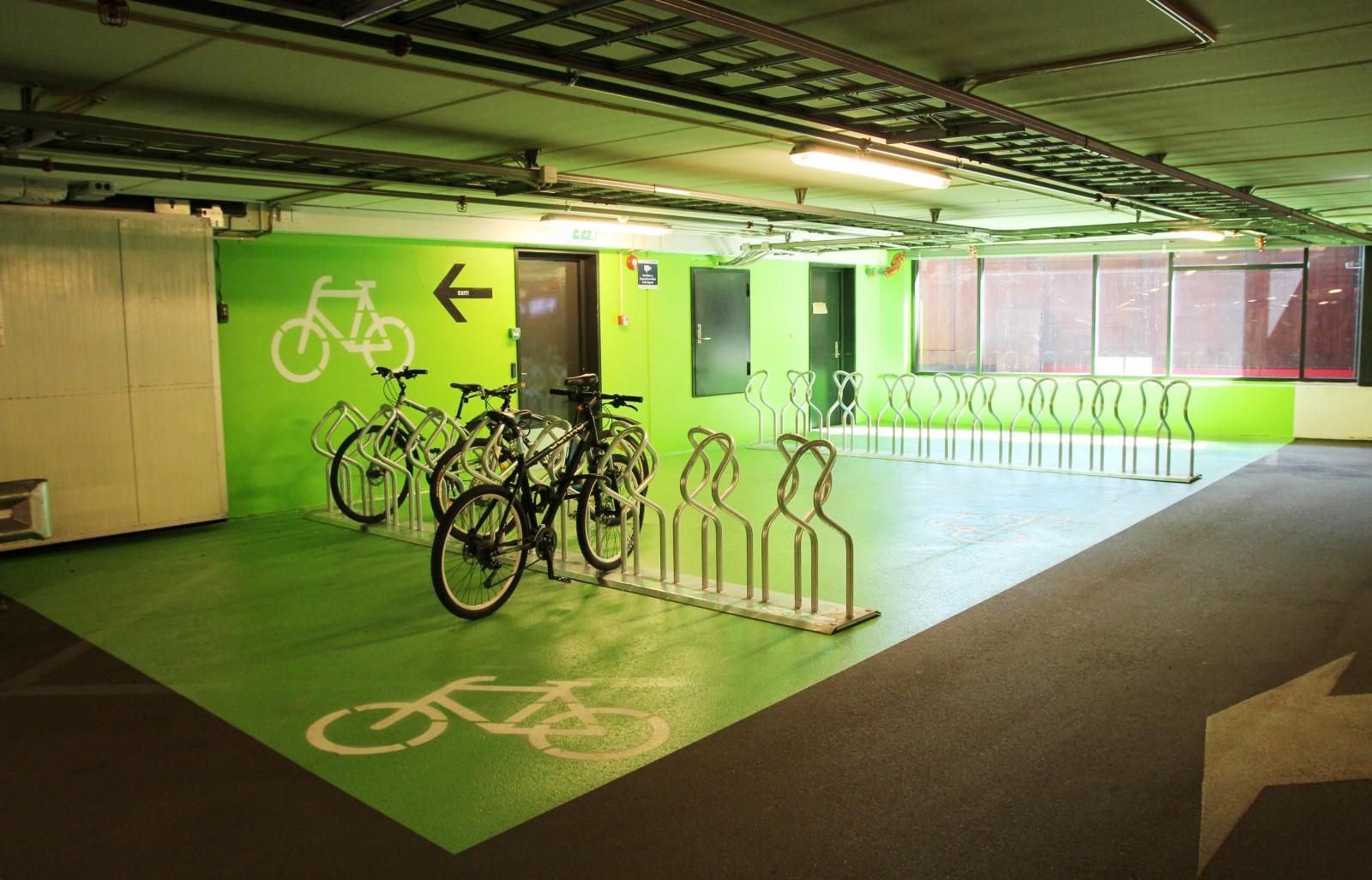 Bilde av sykkelparkering i Vulkan p-hus