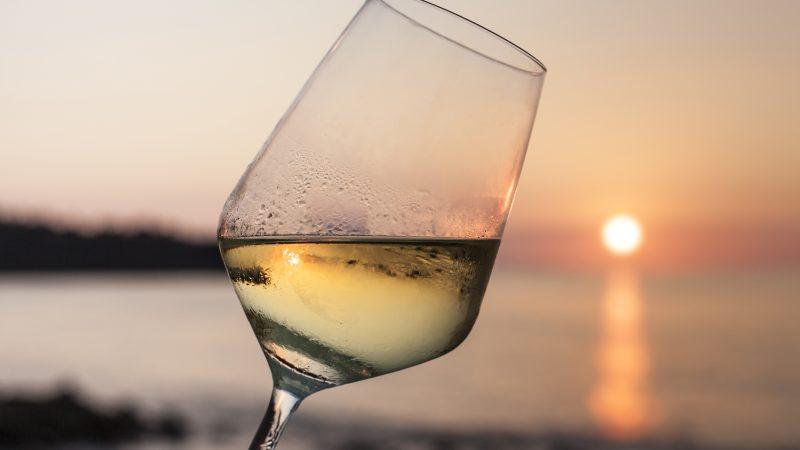 white wine at sunset